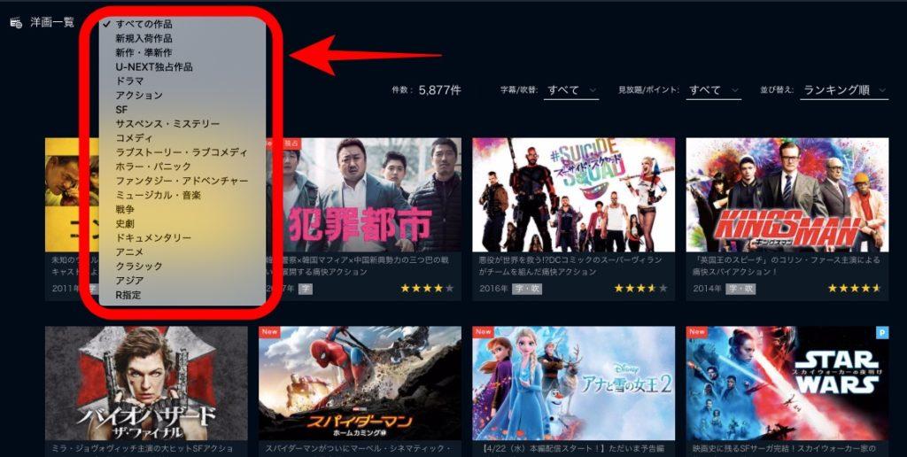U-NEXTの洋画映画のジャンル別