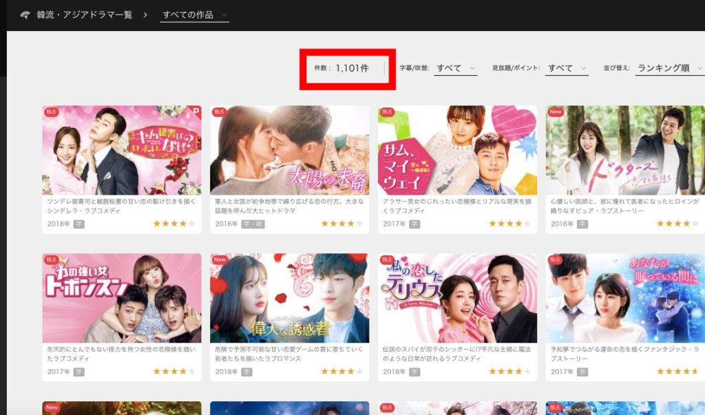 U-NEXTの韓流ドラマの作品数について解説
