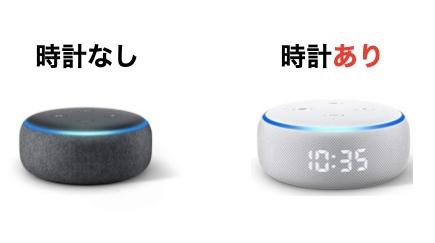AmazonのEcho dotよEcho dot with clockを比較