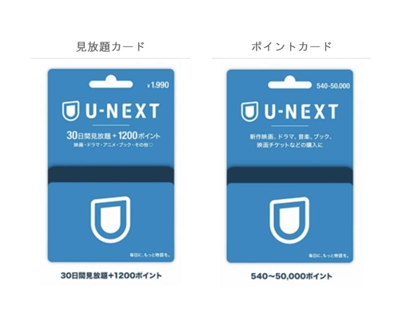 U-NEXTカードとギフトコードのイラスト