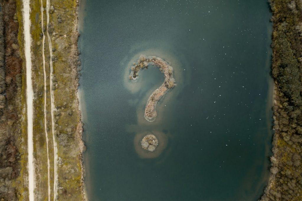 question markの島を上から見ている
