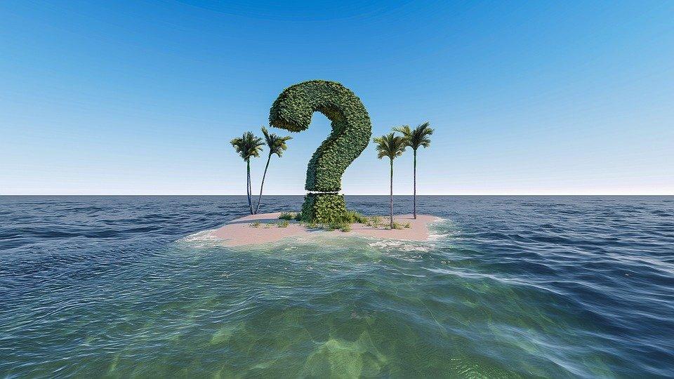 question markが島に浮いている