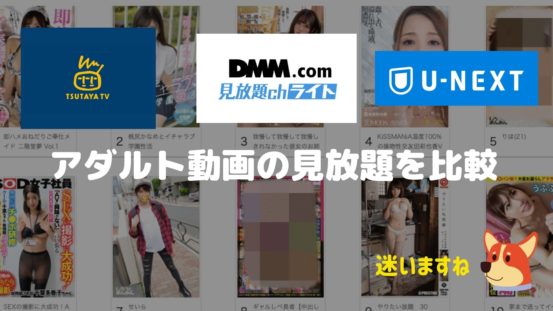 U-NEXTとFANZAとTSUTAYA TVのアダルト動画を比較している